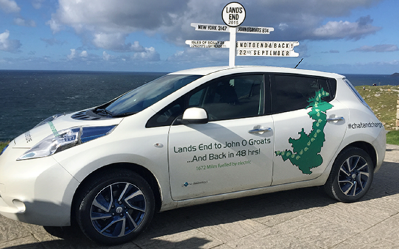 ev enthusiasts travel john 'groats land' nissan leaf ev