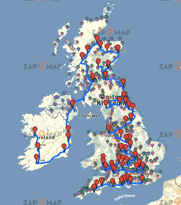 Route 57 UK road trip set to be allelectric ZapMap – Trip Route Map