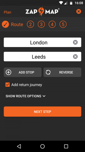 ev route planner – entry screen