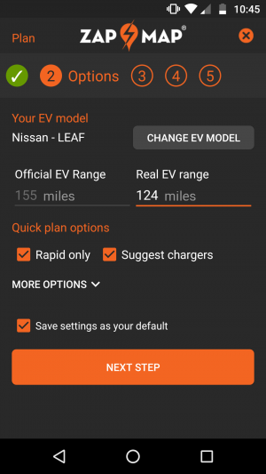 route planner save settings